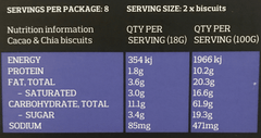 Franjos kitchen cacao and chia biscuits nutrition information