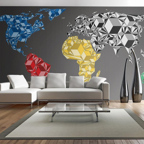 Carta da parati XXL - Map of the World - colorful solids