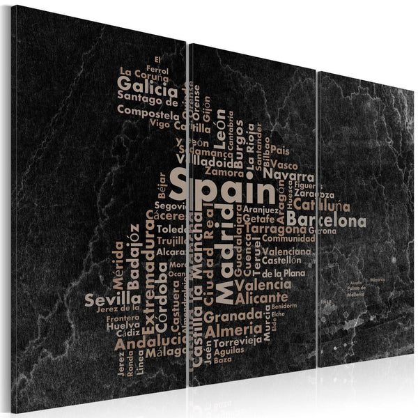 Quadro mappamondo - Text map of Spain on the blackboard - triptych