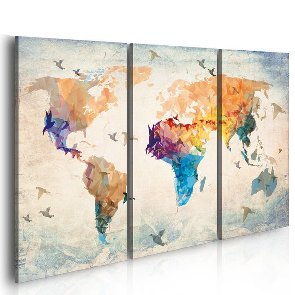 Quadro mappamondo - Free as a bird - triptych