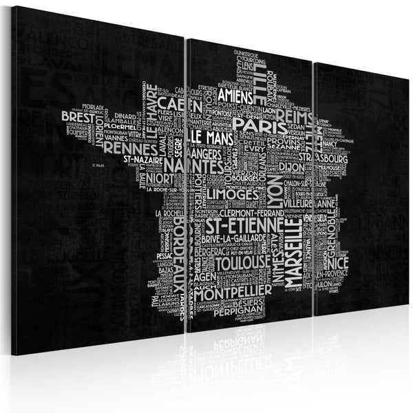 Quadro mappamondo - Text map of France on the black background - triptych