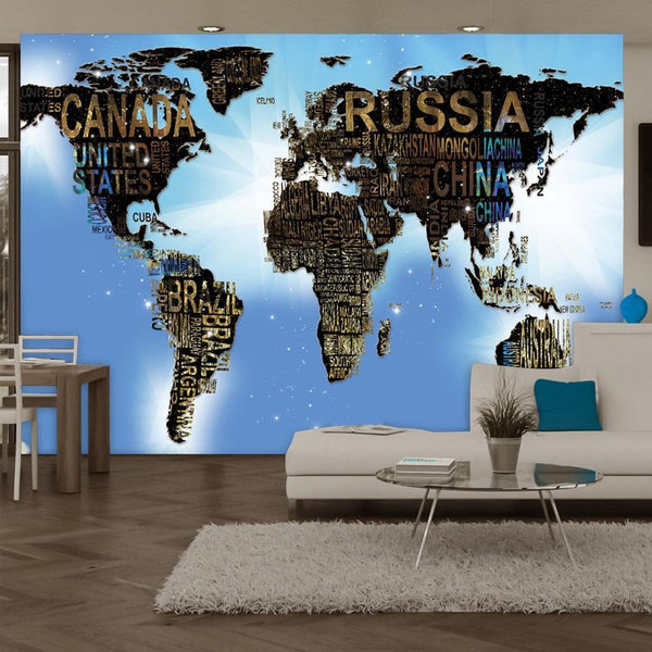 Carta da parati mappamondo - World Map - Blue Inspiration