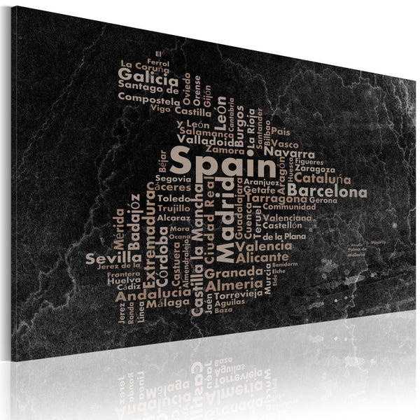 Quadro mappamondo - Text map of Spain on the blackboard