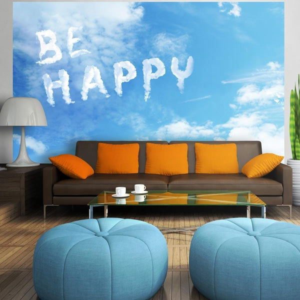 Carta da parati con scritte - Be happy