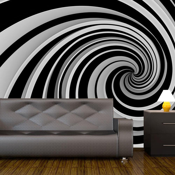 Carta da parati 3D - Black and white swirl