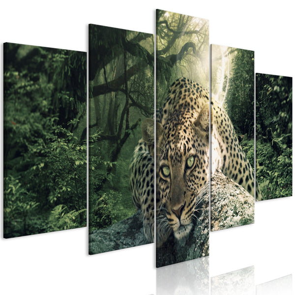Quadro - Leopard Lying (5 Parts) Wide Pale Green