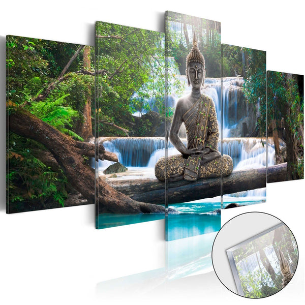 Quadro su vetro acrilico - Buddha and Waterfall [Glass]