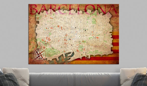 Bacheca in sughero - Map of Barcelona [Cork Map]