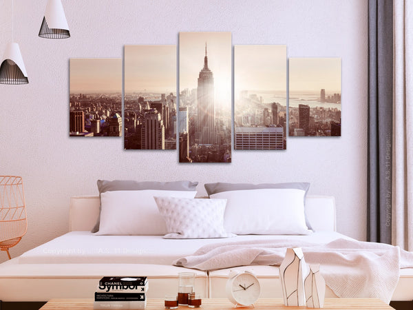 Quadro - Sun over Manhattan (5 Parts) Wide Brown