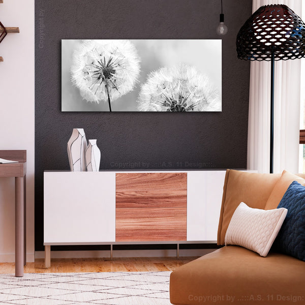 Quadro - Fluffy Dandelions (1 Part) Grey Wide
