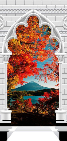 Carta da parati per porte - Photo wallpaper - Gothic Arch and Mount Fuji I