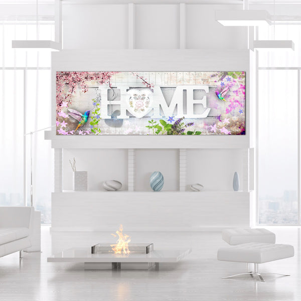 Quadro - Home and Hummingbirds (1 Part) Pink Narrow