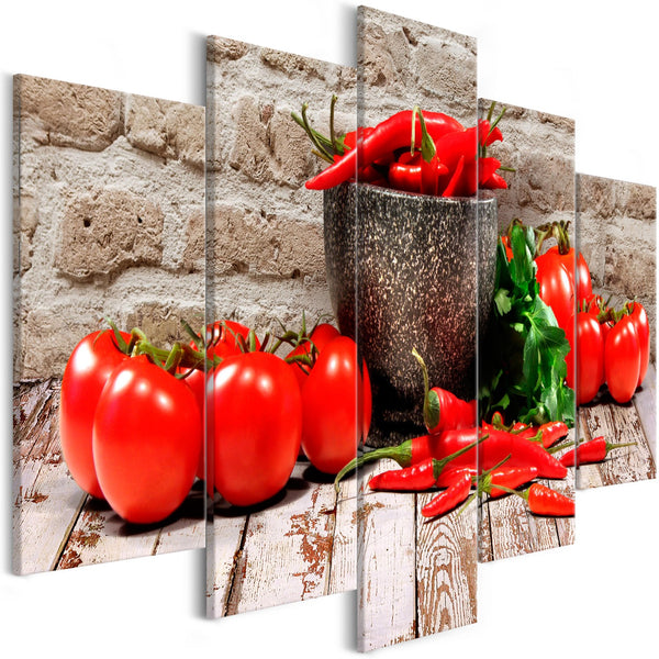 Quadro - Red Vegetables (5 Parts) Brick Wide