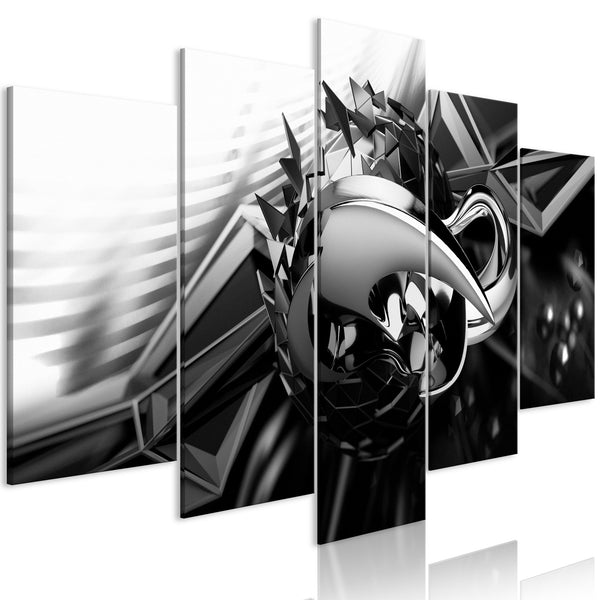 Quadro - Metal Construction (5 Parts) Wide Black and White