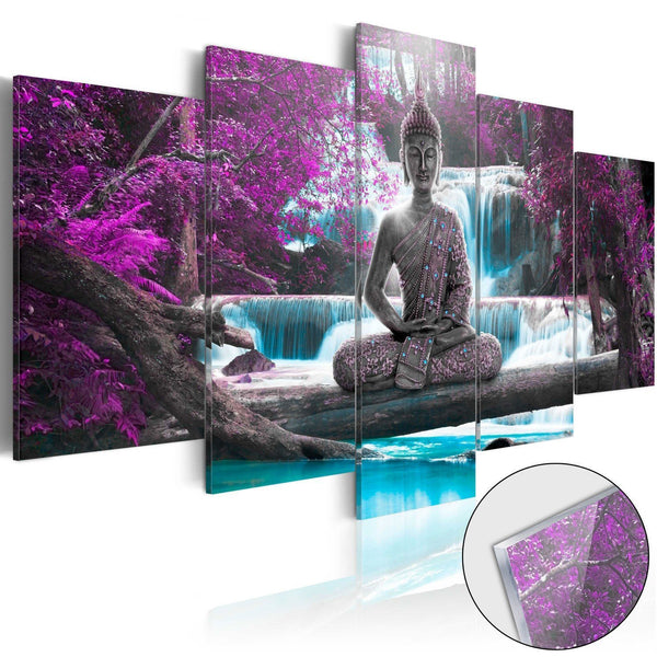 Quadro su vetro acrilico - Waterfall and Buddha [Glass]