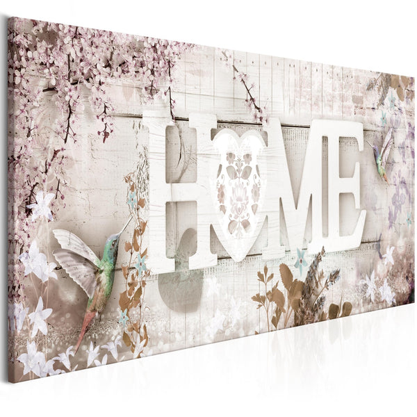 Quadro - Home and Hummingbirds (1 Part) Beige Narrow