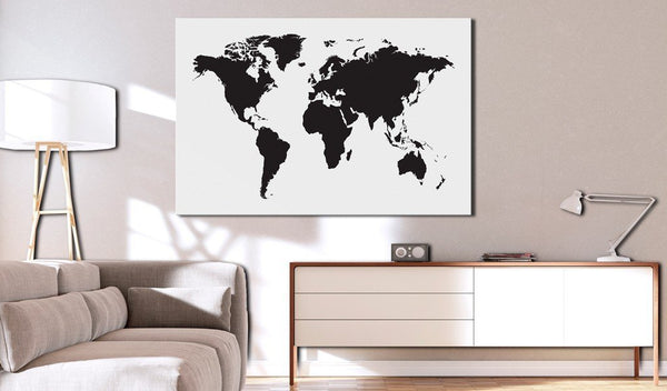 Bacheca in sughero - World Map: Black & White Elegance [Cork Map]