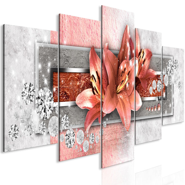 Quadro - Red Lilies (5 Parts) Wide