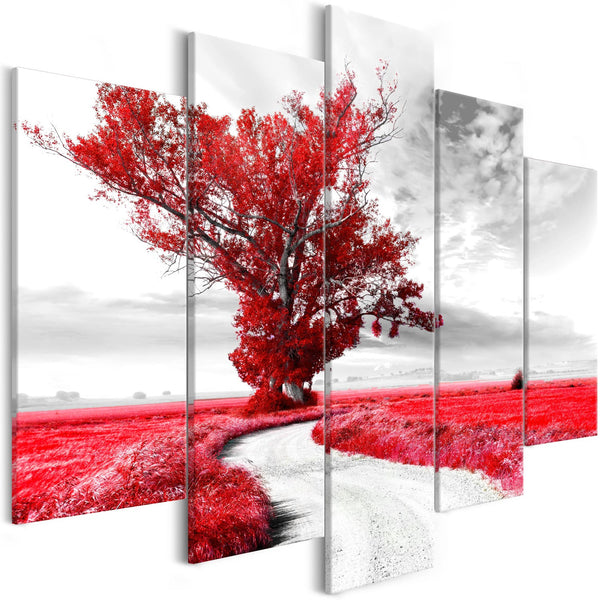 Quadro - Tree near the Road (5 Parts) Red