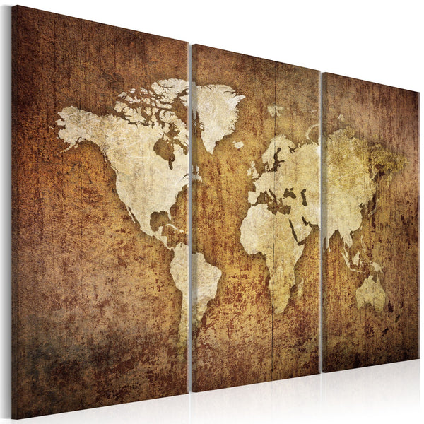 Quadro - World Map: Brown Texture