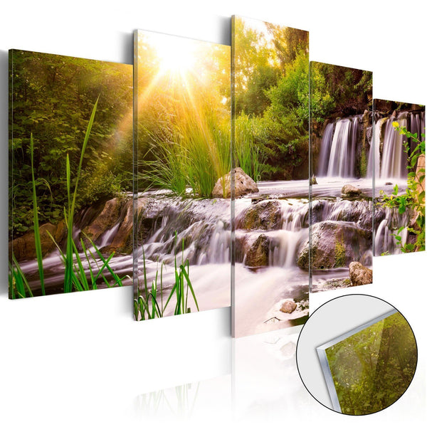 Quadro su vetro acrilico - Forest Waterfall [Glass]