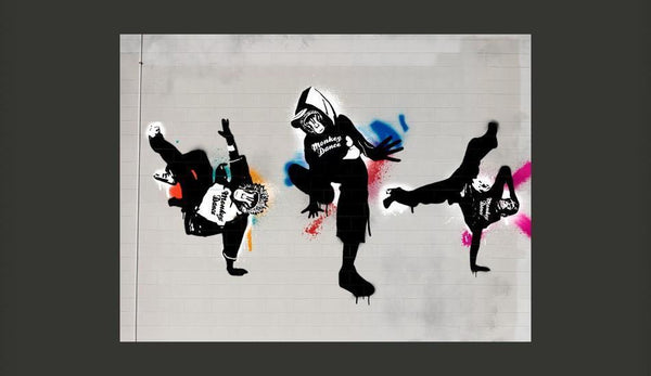 Carta da parati graffiti street art - Monkey dance - street art