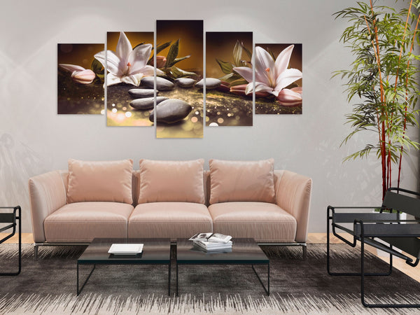 Quadro - Lilies and Stones (5 Parts) Wide Brown