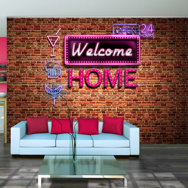 Fotomurale - Welcome home - pink neon