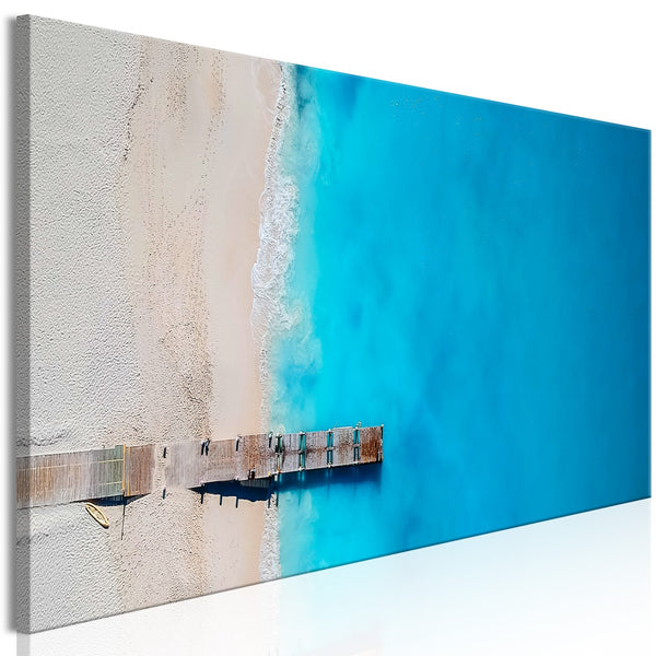 Quadro - Sea and Wooden Bridge (1 Part) Narrow Blue