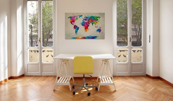 Quadro mappamondo - Map of the world - an explosion of colors