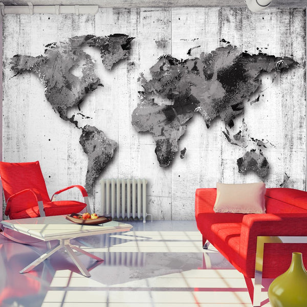 Carta da parati mappamondo -  World in Shades of Gray