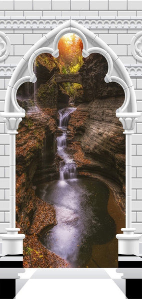 Carta da parati per porte - Photo wallpaper - Gothic arch and waterfall V
