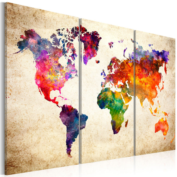 Quadro - The World's Map in Watercolor
