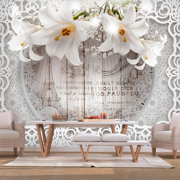 Carta da parati - Lilies and Wooden Background