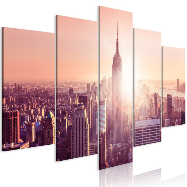 Quadro - Sun over Manhattan (5 Parts) Wide Orange