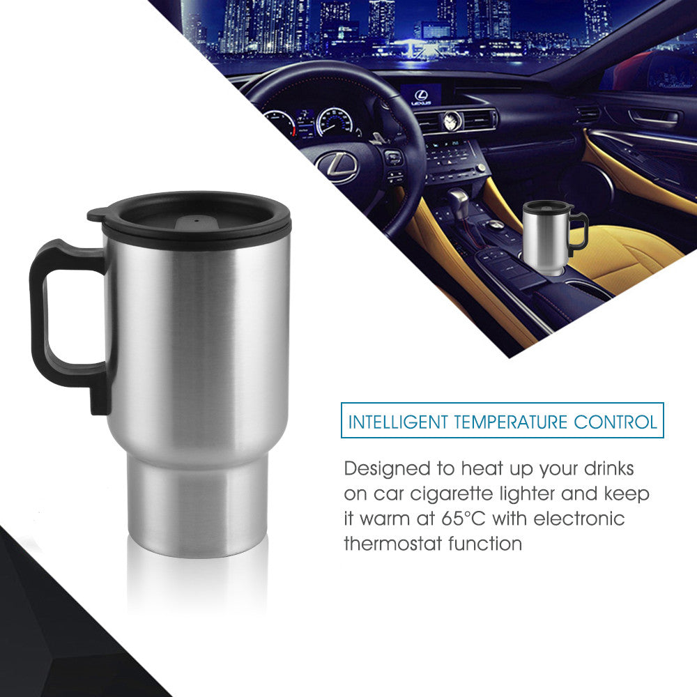 Car Heating Cup with Car Charger | Stainless Steel