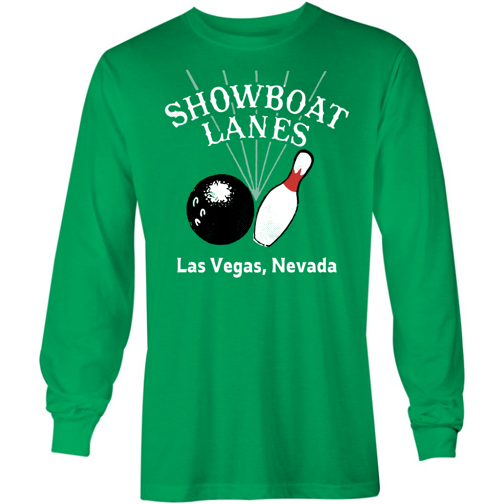 Showboat Lanes  - Vintage Bowling Alley - Long Sleeve T-Shirt