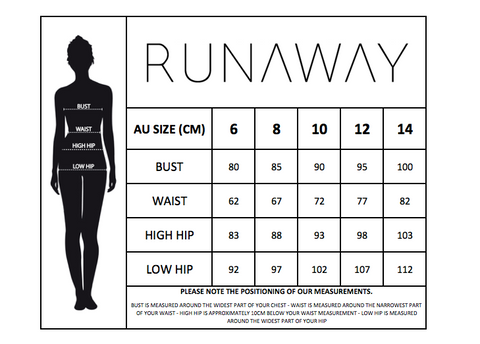 Runaway the label size guide chart