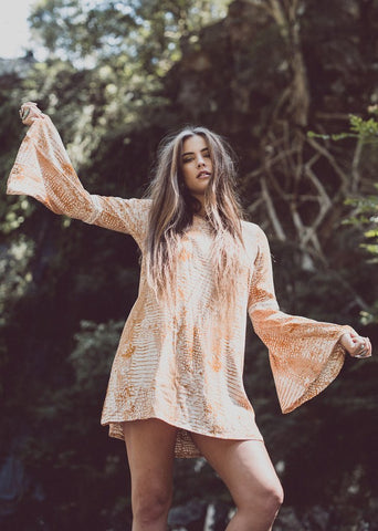 DREAMERS AND DRIFTERS TURMERIC BELL SLEEVE MINI DRESS