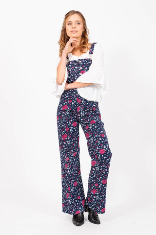 HOUSE OF SKYE DAISY DUNGAREES, OVERALLS WITH BLUE FLORAL PRINT