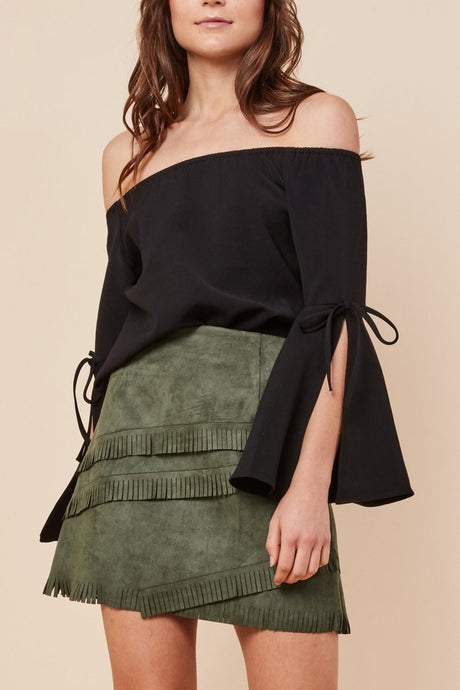 Hailey Off the Shoulder Top Black