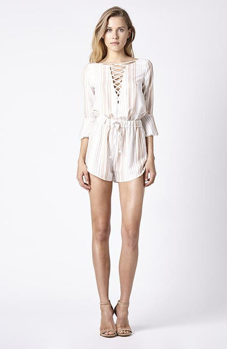 Ruby sees all disappear playsuit in beige stripe, www.nakoaclothing.com.au, NAKOA CLOTHING