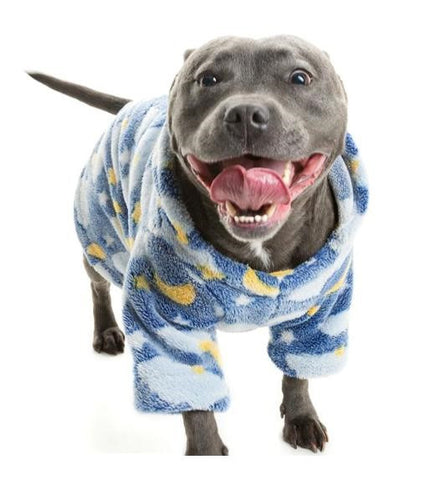 Blue English staffy Terrier wearing pawjammys, Dog pjs made from super soft fleece