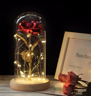 Enchanted Beauty & the Beast Rose with Glass Cover Christmas Decor