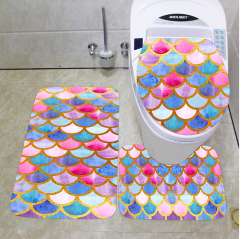 Non-Slip Beautiful Mermaid Scales Bathroom Rugs Set