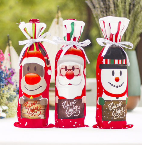 Wine Bottle Xmas Cover Decor