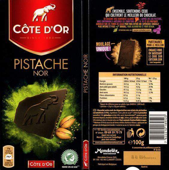 Cote D'Or Tablet Dark Chocolate w/Pistachio 70% Cocoa