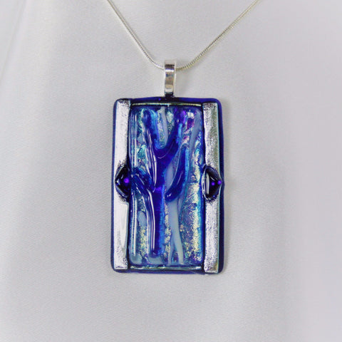 BLUE ICE Fused Glass Jewelry Pendant with necklace