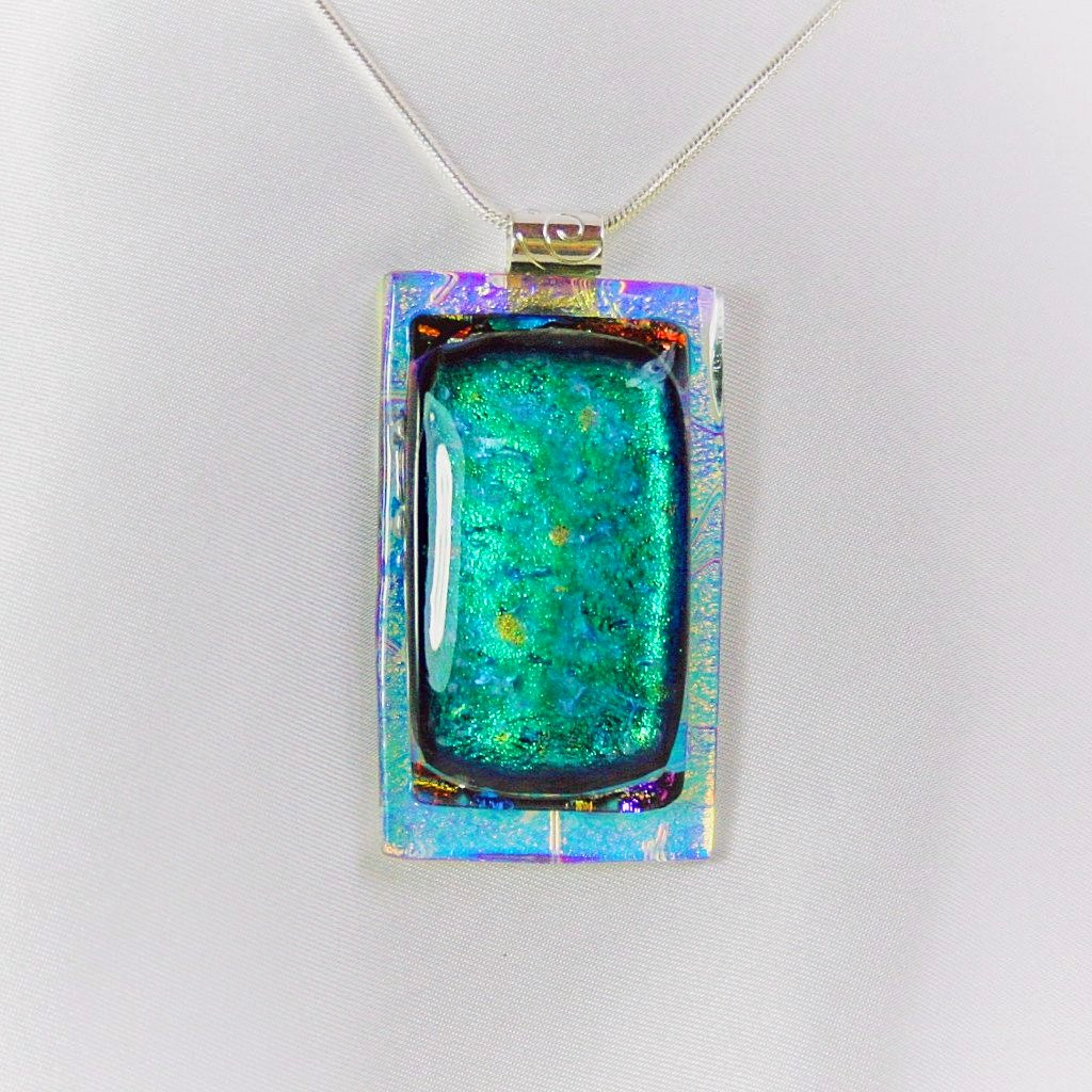 MARDI GRAS  fun and colorful dichroic fused glass jewelry pendant necklace