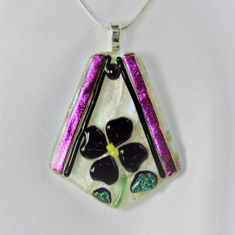 AFRICAN VIOLET -  Purple Fused Glass Jewelry Pendant with Necklace